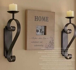 Wholesale-New European style candlestick classic retro Wall Sconces Glass Iron rural vintage decoration candleholders with goblet candles