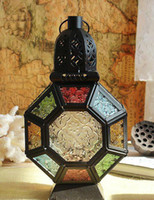 art terrace - Morocco European style vintage Wrought Iron Art colored glass hurricane lamp candle holders home garden terrace bar decorations