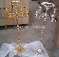 Wholesale Top rated GOLD finish floor candelabra cm metal candle holder GOLD wedding candelabrum with nice flower bowl candle stick