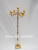 Wholesale Tallest cm height shiny Golden plated centerpiece candelabra fashion metal candle holder for wedding events or party use