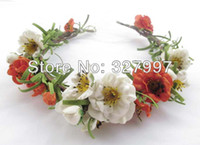 Wholesale x Wedding artificial decorative floral crown Hawaii flower garland bridal headband girl bride Boho PE headdress with ribbon