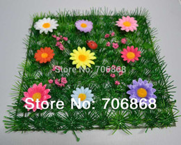 2015 artificial plastic grass mat with colorful flowers and ladybug wedding party home garden decoration use