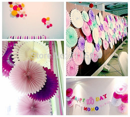 Wholesale-10inch 25cm10pc Honeycomb Tissue Paper Fan Pinwheels Decorative Flower Paper Crafts Party Wedding Decoration Birthday Baby Shower