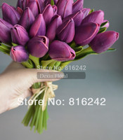 Wholesale NATURAL REAL TOUCH FLOWERS Multi Colors White amp Pink amp Purple Mini Tulip Bridal Posy Bouquet Tulips Wedding Bouquet