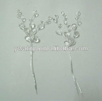 Wholesale Handmade Decorative Artificial Acrylic Plastic Flowers With Wire Stem Crystal Diamante Flower Branches