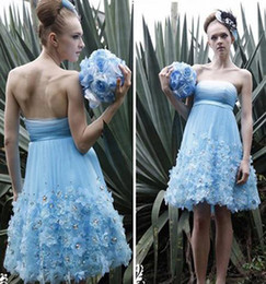 Wholesale Tulle Ruffle Strapless Low Beaded Flower Tall Wasit Ball Mini Informal Wedding Party dresses dress