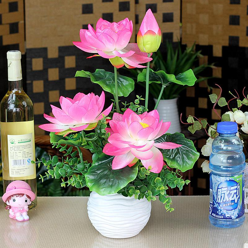 2018 Wholesale Artificial Lotus Flower Bouquet Set With