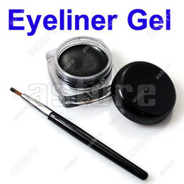 Wholesale 12 set Brand new Black Waterproof Eye Liner Eyeliner Gel Makeup Brush
