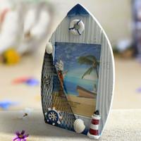 al por mayor foto marcos de madera al por mayor-Vela mayor-Libre marco de la foto del barco shiiping Estilo Mediterráneo marco de madera maciza de artesanía marco de la playa foto regalo