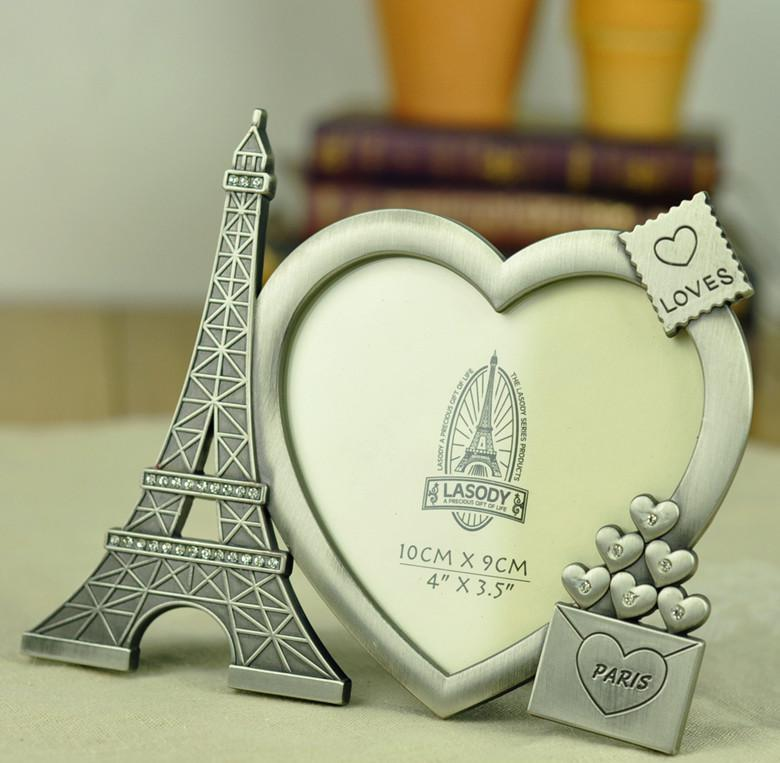 Wholesale Metal Art Craft Zakka Home Decoration Vintage Eiffel Tower Love Heart Photo Frame Birthday Gift Home Decor Accents Home Decor Accessories From