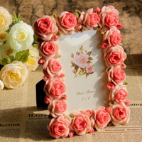 Wholesale Size x quot Full Pink Color Rose Flowers Photo Frames Resin Craft Sweety Lover Gift Home Decoration