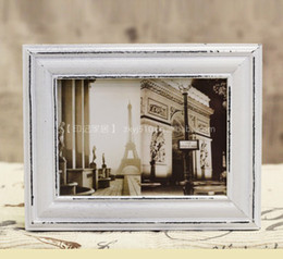 "Wholesale-Free Shipping Popular Home Decorative Antique White Square 6inch(4""x6"") Solid Wood Classical Picture Frame."
