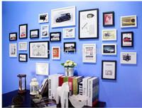 al por mayor marcos de cuadros oscilación-Wholesale-24 PC / set decoración de la pared del arte moderno de la familia del amor de nuevo swing de madera marco de fotos marco de imagen fija niño niños regalo marco de fotos