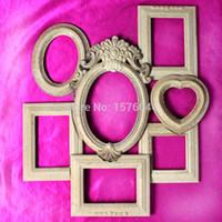 al por mayor pulse pintura-Al por mayor-DIY material de pintura marco de fotos de madera prensado de polvo 7pcs / venta caliente de la porción libre del envío