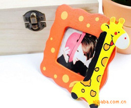 Wholesale-1pc Mini Square DIY Kawaii Cartoon Wood Photo Frame for Pictures Keep the Best Moment for Photos Motivational stickers