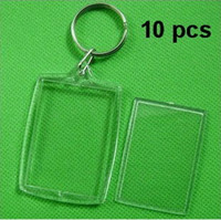bamboo keychain - Transparent Blank Insert Photo Picture Frame Keyring Split Ring keychain Gift photo frames picture frame to pictures