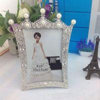 al por mayor marcos de cuadros perfectos-Al por mayor-6 pulgadas marco de fotos de la boda de vidrio marco de fotos de la perla de la corona regalo perfecto