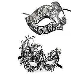 Wholesale- Lovers Men Women Couple Masquerade Princess Masks Black Metal Masks Mardi Gras Halloween Party Shows Cosplay Sexy Diamond Mask