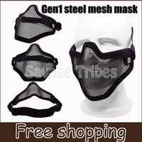 bb guns games - BB Gun Game Tactical Hunting Metal Wire Half Face Mask Mesh war game Mask Paintball Resistant Black