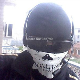 Wholesale Skeleton Cosplay CS Ghost Skull Face Mask Biker Balaclava Riding Paintball Airsoft Head Protect Costume Game Halloween Glowing