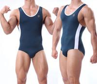 Wholesale One Piece Navy Blue Wrestling singlet Mens Underwear Gym Outfit Hot Looking Workout Clothes Unitards Underwear