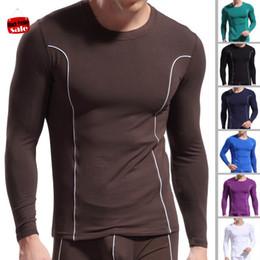Wholesale- Mens Long Johns Soft Bamboo Fiber Top Undershirt Heated Tight Slim O-Neck Sport Long Sleeve Clothing Quick Dry Underwear