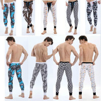 Cheap Wholesale-long johns pants winter sexy modal low-waist u convex pouch men's warm winter trousers leggings for men High quality