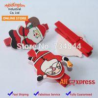 christmas crafts - Set of Natural Wood Wooden Santa Clause Christmas Craft Peg Set Mini Clothespins Card Holder Decoration