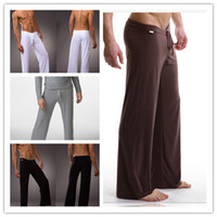 mens sleepwear - Fashion Mens Sleep Bottoms Leisure Sexy Sleepwear For Men Hot Yoga GYM Long Pants Silky Soft Lounge Wear Pajamas CK22