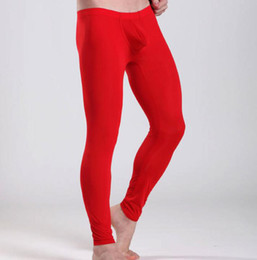 Wholesale-Ice Silk Male Men Thermal Underwear Long Pants   Male Boys Tights Leggings Low Waist Trousers M L XL