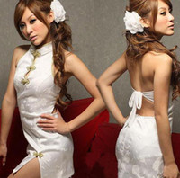 Wholesale White Chinese Cheongsam Sexy Costume with G string Hot Girl Backless Cosplay Sexy Uniform
