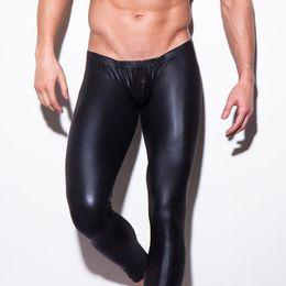 Wholesale-N2N Long Johns Mens Sexy Faux Leather Jockstrap Wrestling Singlet Pants U bulge Low Raise Show Brand Fashion Underwear Leggings