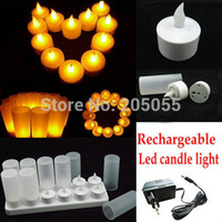 amber decor - Rechargeable led candles Flameless Tea Light electric candle waxless lamp valentine birthday wedding church decor AMBER