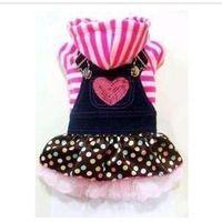 Wholesale Pet clothes love straps cowboy bud silk skirt pink bar wave LaRong jersey suits haney