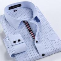 Wholesale Man Spring New Arrival Fashion Mens Business Casual Long Sleeve Polka Dot Print Dress Shirts Slim Fit Shirts