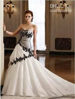 White 2010 wedding dresses - New White black Wedding Dress Prom Gown Size