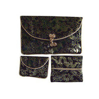 Wholesale Vintage Women s Wallets with Coin Purse Paper napkin Bag Three Piece Set Silk Fabric Free