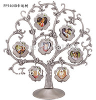 baby photo frames designs - Baby Family Zinc alloy Metal Photo Frames Home Decoration Gift Tree Design with four leaf clover pendant
