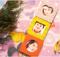 baby photo magnets - Mini Photo Frame Kids Children Gift Fridge Magnets Wooden Magnetic Eco Paint Baby Show say hi