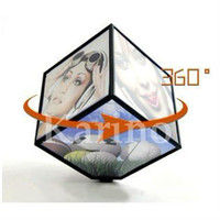 Cheap Wholesale-Free Shipping Wholesale Cube Photo Frame, 360 Rotate Automatic, Fashion Album, Gift Product