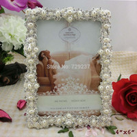 antique jeweled frame - Antique Silver Pearls Metal Photo Frame Wedding Favors Handmade Jeweled Picture Frame inches