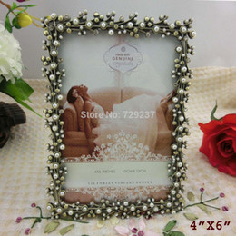 Wholesale Antique Bronze Metal Photo Frame x6 inches with Rhinestones amp Pearls Ornate