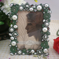 antique jeweled frame - Antique Green Jeweled Picture Frame Rectangle x5 inches