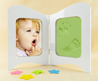 baby photo frames set - White Wooden Photo Frame Inches Baby Picture Frame set for photo Baby hand and Foot Prints Clay photo Frame Infant Baby Inkpad