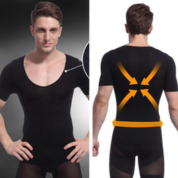 Wholesale-Hot Selling Black Mens Shapewear Body Shaper Compression Shirt Tight Short Sleeve T-Shirt Shapewear