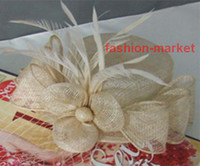 Wholesale Yellow Evening Hat Feather Wedding Apparel Bridal Accessories Tiaras amp Hair set of bride flower
