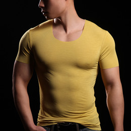 Wholesale silk super cool seamless tight male short sleeve o neck t shirt Ultra smooth basic short sleeve bodysuit male singlet men