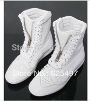 Cheap Wholesale-White Black Leather High Top Sneakers For Men Hot Sell Branded Mens Shoes Sneakers Lace Up Dance Shoes Free Shipping MS2119