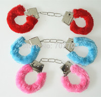 hen party - Mixed color Hen Night Party Novelty Gift Soft Metal Fuzzy Furry Handcuffs For Sexy Game