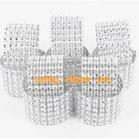 "Cheap Wholesale-100 Pcs Silver 1.5"" 8 Row Bow Covers With Velcro Closure Napkin Rings Diamond Rhinestone Wedding Chair Sashes Bows"